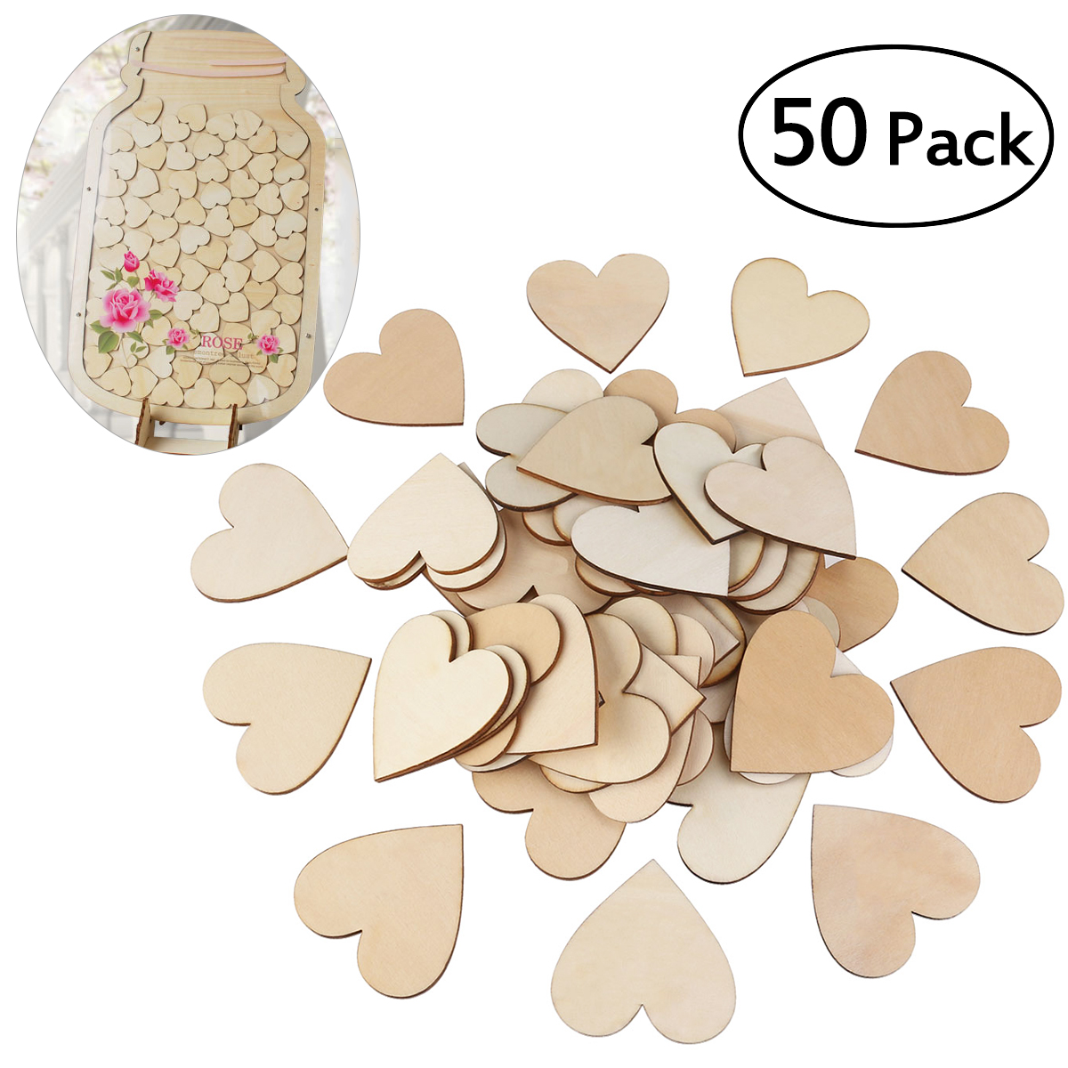 50pcs Blank Wooden Heart Shapes Craft Slices Discs Wedding