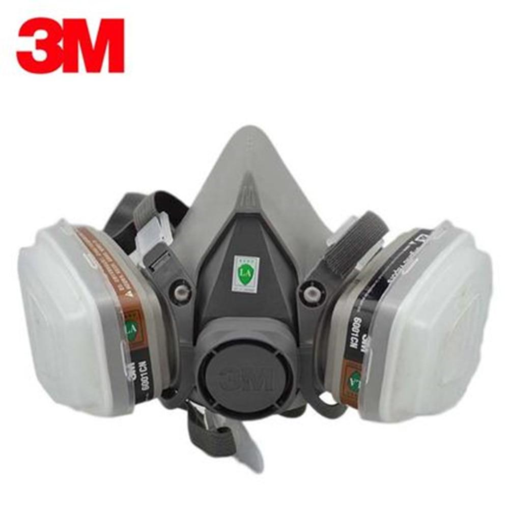 3M 6000 Series Half Face Mask Respirator 6100/6200/6300 6001 Gas Cartridges 7IN1 Set For Painting Spraying Against Organic Vapor