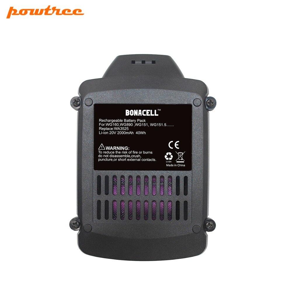 2PACKS 2000mAh 20V Li-ion WA3525 Rechargeable Battery: WORX WA3742 WG155 WG160 WG255 WG545 WA3520 WA3525 WA3760 WA3551 WA3553 2packs 2000mah 12v li ion wa3503 rechargeable battery for worx wu127 wu151 wx6777 wx3827 wx125wx125 6 wx125 7 wx125 m wx126