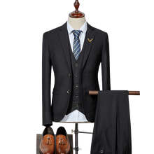 Suit 3-piece  (coat + vest pants) mens high-quality wedding suit slim business casual professional