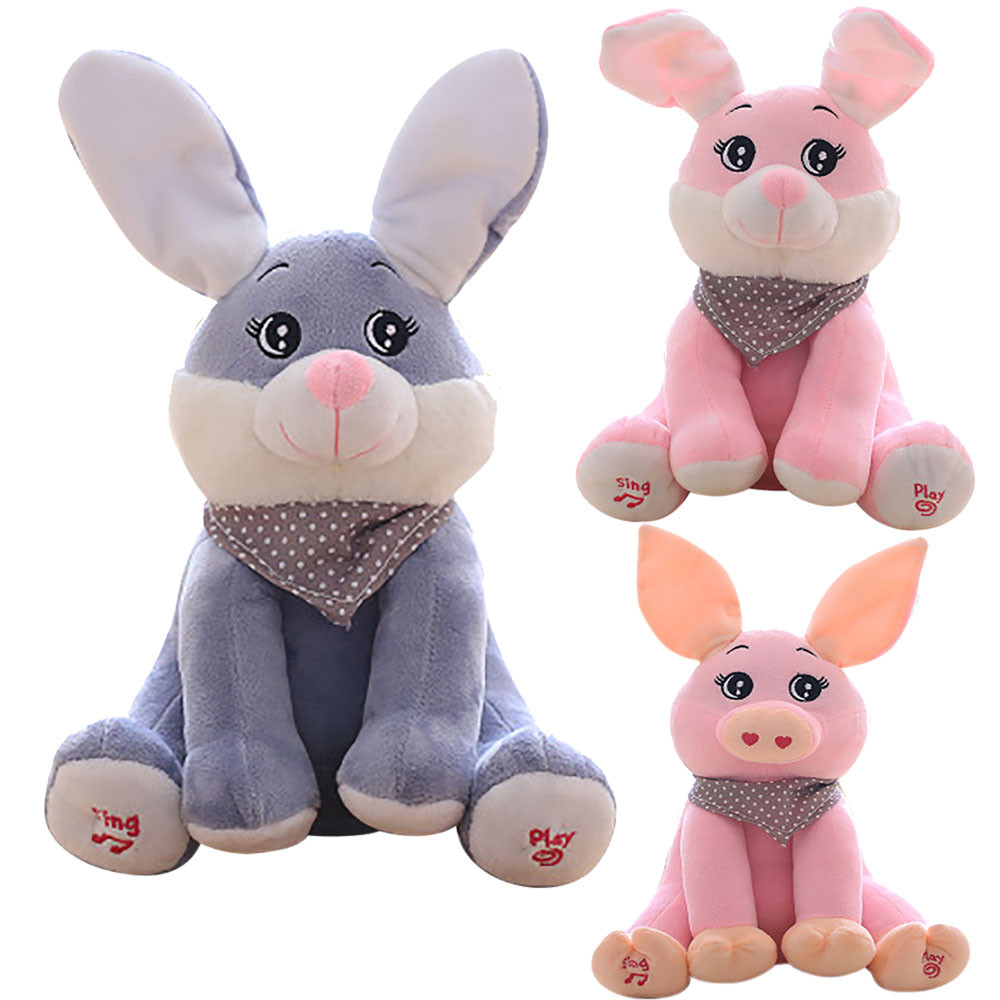 HIINST MallToy 2017 New Funny Baby Peek-a-boo Rabbit Plush Toy Stuffed Pink Animated Kids Singing Soft Toy Sep5 Dropship