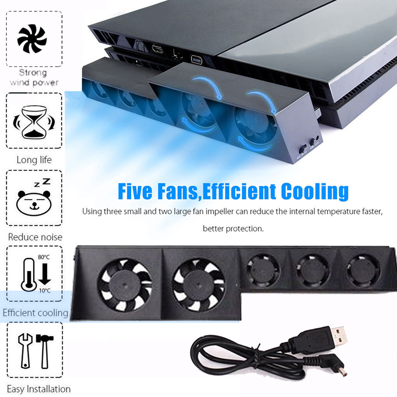 For <font><b>PS4</b></font> Cooling Fan External Cooler Fan For Sony PlayStation 4 Host Cooler External <font><b>Turbo</b></font> Temperature <font><b>Control</b></font> Fan Accessories image