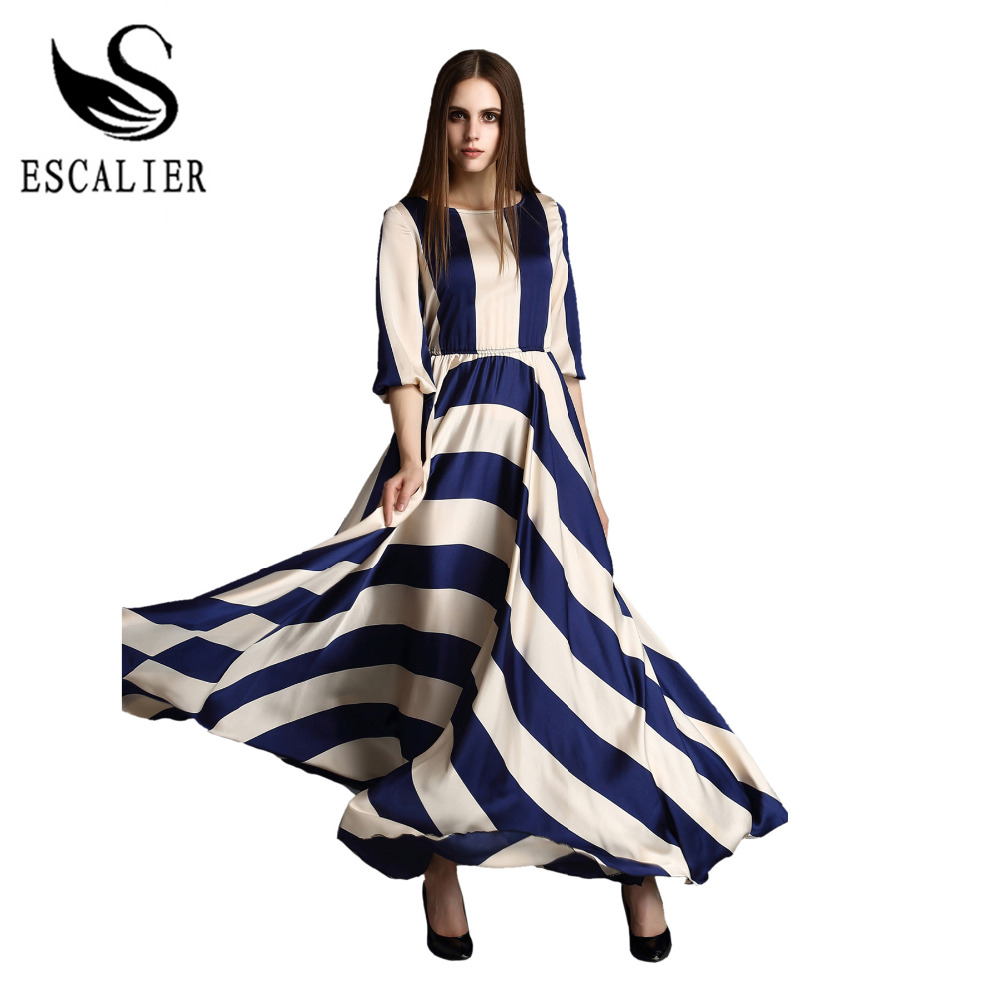 Buy Cheap 2016 Elegant Women Dress Bohemian O Neck Striped Print Maxi Long Dress Half Sleeve Beach Summer Dresses Plus Size Boho Clothing