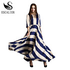 Save 22.5 on 2016 Elegant Women Dress Bohemian O Neck Striped Print Maxi Long Dress Half Sleeve Beach Summer Dresses Plus Size Boho Clothing