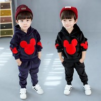 2018 Kids Spring Clothes Hooded Velvet Coats Shirt Sweaters Pants Sports Casual Mickey Suit Set For