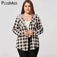 Plus Size 5XL Flap Pockets Plaid Hoodie Shirt Women Clothes Autumn 2017 Long Sleeve Checked Hooded Tops Ladies Casual Shirt