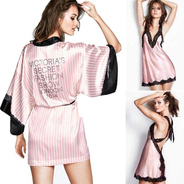 Розовые Полосы Шелковой Ночной Рубашке Халат Наборы