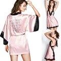 Rosa Faixa de Seda Sets Robe Camisola