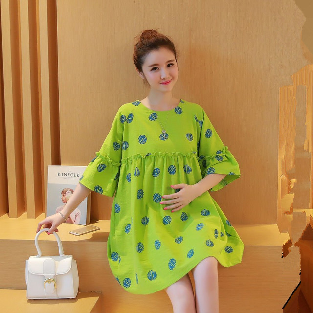 f09ebb7de39 Summer Maternity Clothing for Pregnant Women Casual Dots Clothes Fashion  Loose One-piece Dresses Top