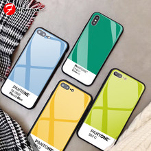 ce2ed237f Tempered Glass Customized Phone Case for iPhone 7 7Plus X 6S 6 Plus DIY  Pantone Phone Cover for iPhone XS MAX XR 8 Pure color