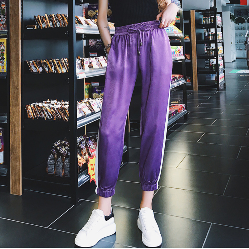 Purple Harem   Pants     Capri   Trousers Women Concise Summer Casual   Pants   Female Streetwear High Waist Hip-hop   Pants   2018 Female JK02
