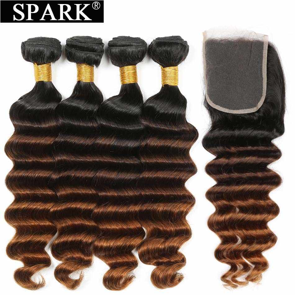 Spark Peruvian Hair Human Hair Ombre Bundles With Closure Loose Deep Wave Hair Closure With Bundles Remy Human Hair Bundles