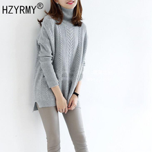 HZYRMY Autumn Winter New Women Hot Cashmere Sweater Fashion High Collar Solid Pullover Loose Wool Knitted Quality