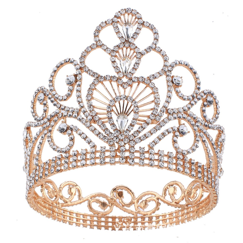 New Fashion Crystal Bridal Beauty Pageant Award Gold Color Crown Stage Performance Hair Ornaments Annual Meeting Props FN-G016