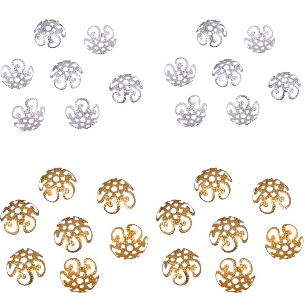 new 100 pcs/200 pcs/lot 2015 High Quality DIY Gold/Silver Plated Hollow Flower Metal Charms Bead Caps for Jewelry Making 10mm