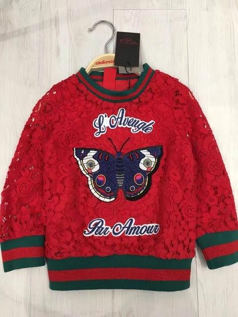 Cadimidi 13 estilo Niños Hoody de las mariposas de Encaje bordado jerseys chicas top Con Capucha de los niños de ropa deportiva al por mayor