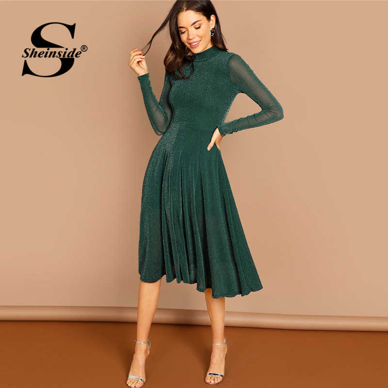 342a27f4 Sheinside Green Mock Neck Glitter Women Midi Dress Elegant Fit & Flare Long  Sleeve Dresses 2018