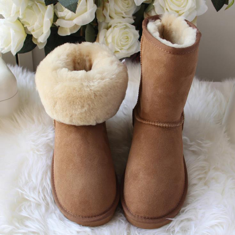 Top Quality 2018 New Fashion Real Wool Mujer Botas Genuine Sheepskin Leather Snow boots Natural Fur Winter Shoes For Women free shipping classic natural fur real wool genuine sheepskin leather snow boots for women winter shoes high quality page 2