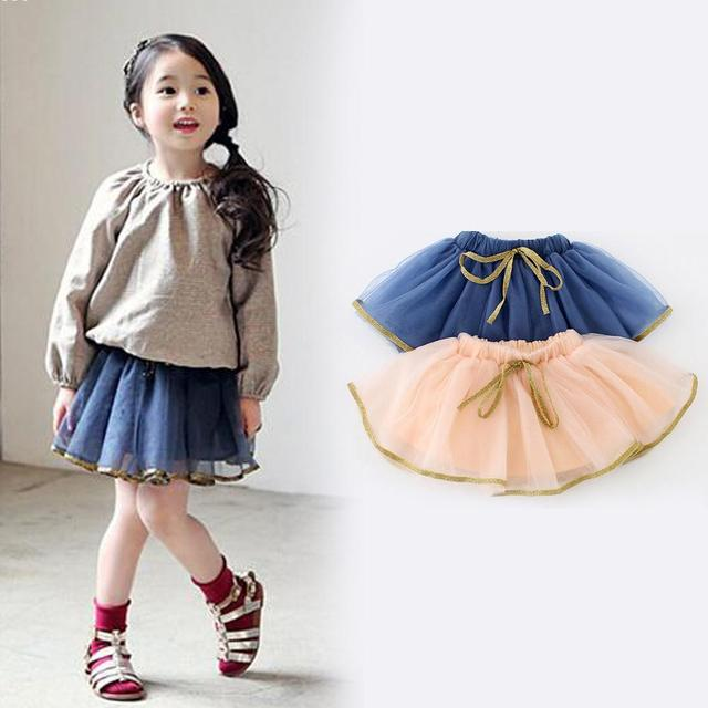 2016 fashion princess skirting clothes sweet girl summer skirt with bow Korea style solid girls short shirts bowknot midiskirt