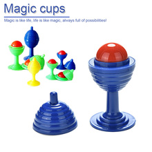 Random Color Beads Go No Traces Magic Cup Puzzle Novelty Toys Children Close-up Street trick Props Kids Gag