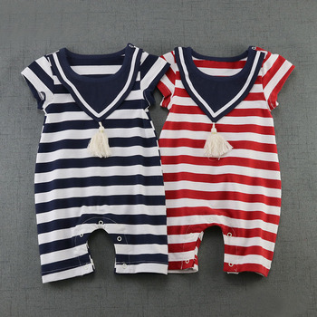 2017 Summer 100% Cotton Newborn Baby Girl Clothing Navy Sailor Striped Jumpsuits Short Sleeve Baby Boys Rompers DQ387