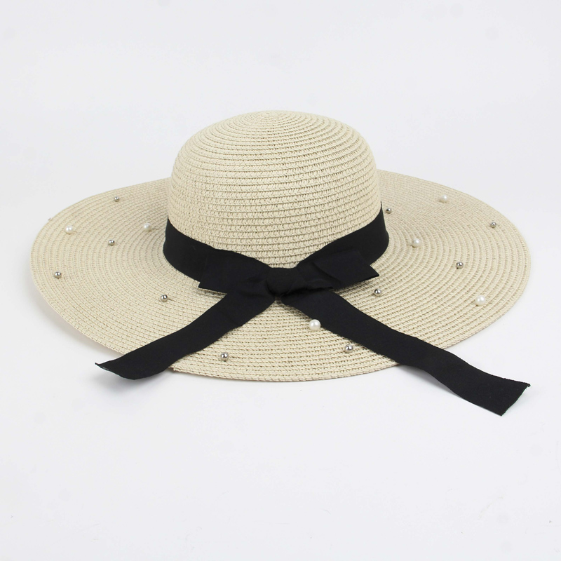 Women's Summer Straw Hat Female Rivet And Pearls Beach hat Wide Brim Panama Cap Big Wide Brim Hats For Women Foldable Caps L016(China)