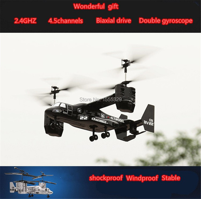 New Version 2.4Ghz 4.5CH RC 3D Osprey Helicopter Radio Control RTF ready to fly with Gyro with light