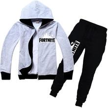 ФОТО 2018 children's clothing fortnite game series hoodies sets children's autumn sport suit hoodie + pants boy set teens clothes