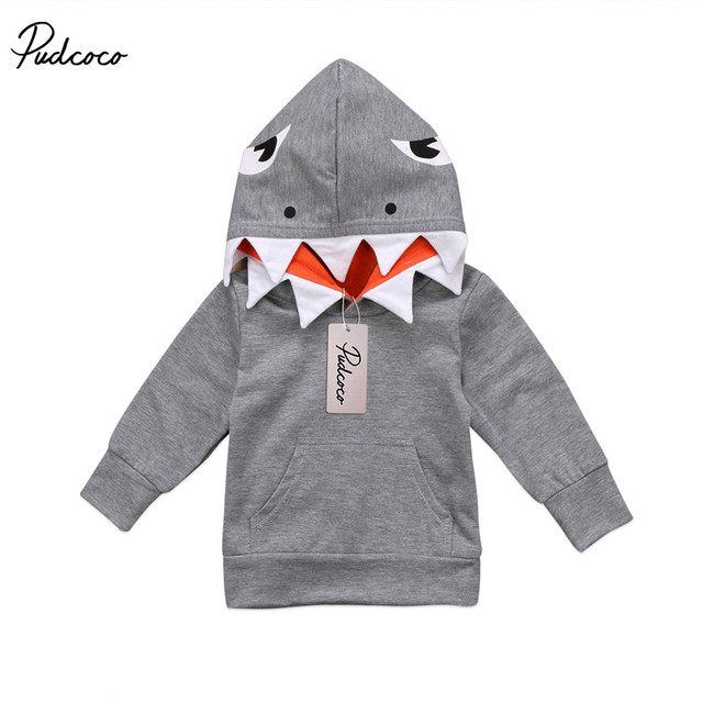 8f8562f8a Baby Sweatshirt Toddler Kids Boys Shark Pattern Hooded Tops Hoodie ...
