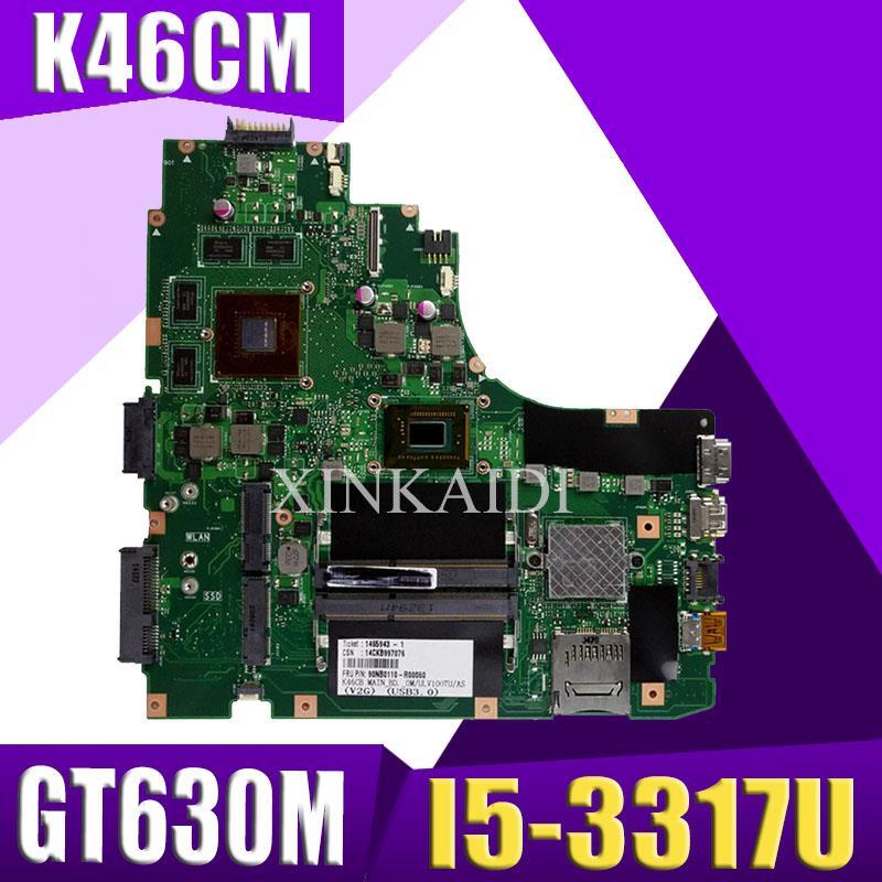 XinKaidi  K46CM Laptop Motherboard For ASUS A46C S46C K46CB K46CM K46C K46 Test Original Mainboard I5-3317U GT630M