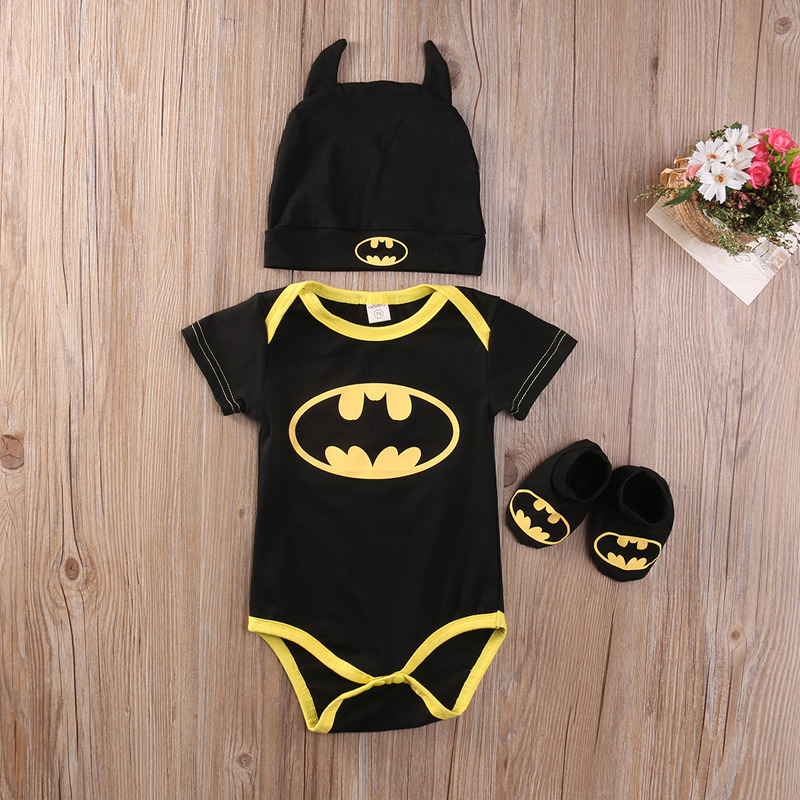 2018 New Baby Kids Clothing Set Cartoon Batman Short Sleeve T-shirt Jumpsuit + Hat + Shoes Boy Girl 3 Piece Clothing