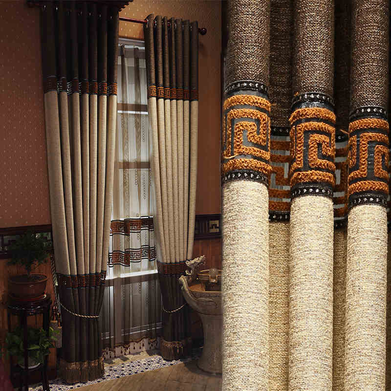 Custom made luxury greek key linen curtains with tassels for Traditional curtains for living room