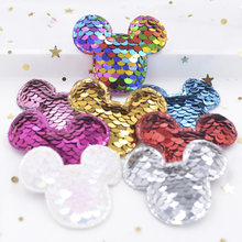 c51420a709e 16Pcs Glitter Sequins Fabric Mickey Padded Patches Mouse Appliques for DIY  Crafts Clothes Hats Hairpin Ornament
