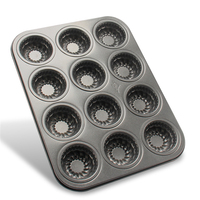 AMW Grande 12 Copos de Metal Assadeira Redonda Flor Cozinha Bakeware Molde Do Bolo Novas Ferramentas de Cozimento Do Queque Para Bolos CC1027C