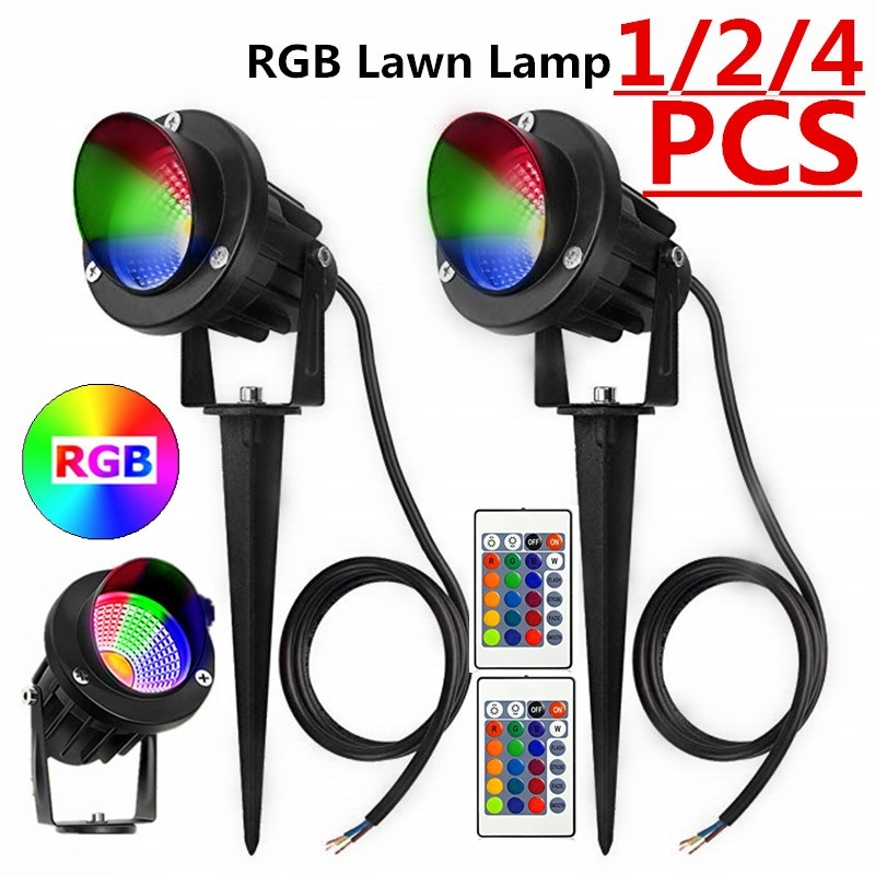 1/2/4 Uds 10W RGB proyector de luz de jardín luz LED para jardín con remoto impermeable IP65 paisaje de exterior Spot Lamp AC85-265V EU/US