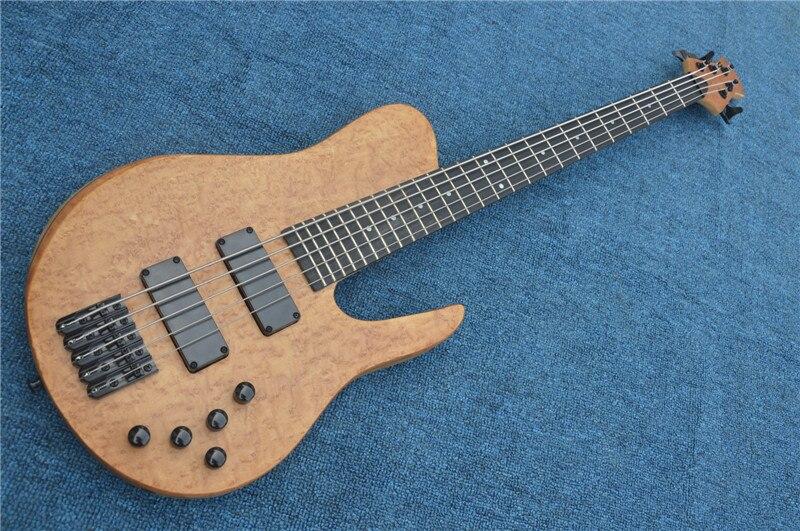 24 frettes 5 cordes bois naturel couleur basse électrique avec cou-thru-corps, noir matériel, peut être changé comme demande
