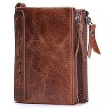 купить Vintage Luxury Male100% Genuine Leather Wallet Men New Brand Purses For Men Black Brown Bifold Wallet Wallets With по цене 1230.98 рублей