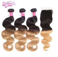 Queen Love Hair 1B/27 2 Tone Ombre Malaysian Body Wave Hair Bundles 10-26 Inch 3 Bundle With Closure Human Hair Extensions