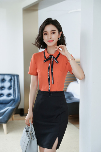 1d69f14dfd628d Elegant Orange Uniform Styles 2 Piece With Tops And Skirt For Women Office  Wear Blouses & Shirts Skirt Sets Plus Size