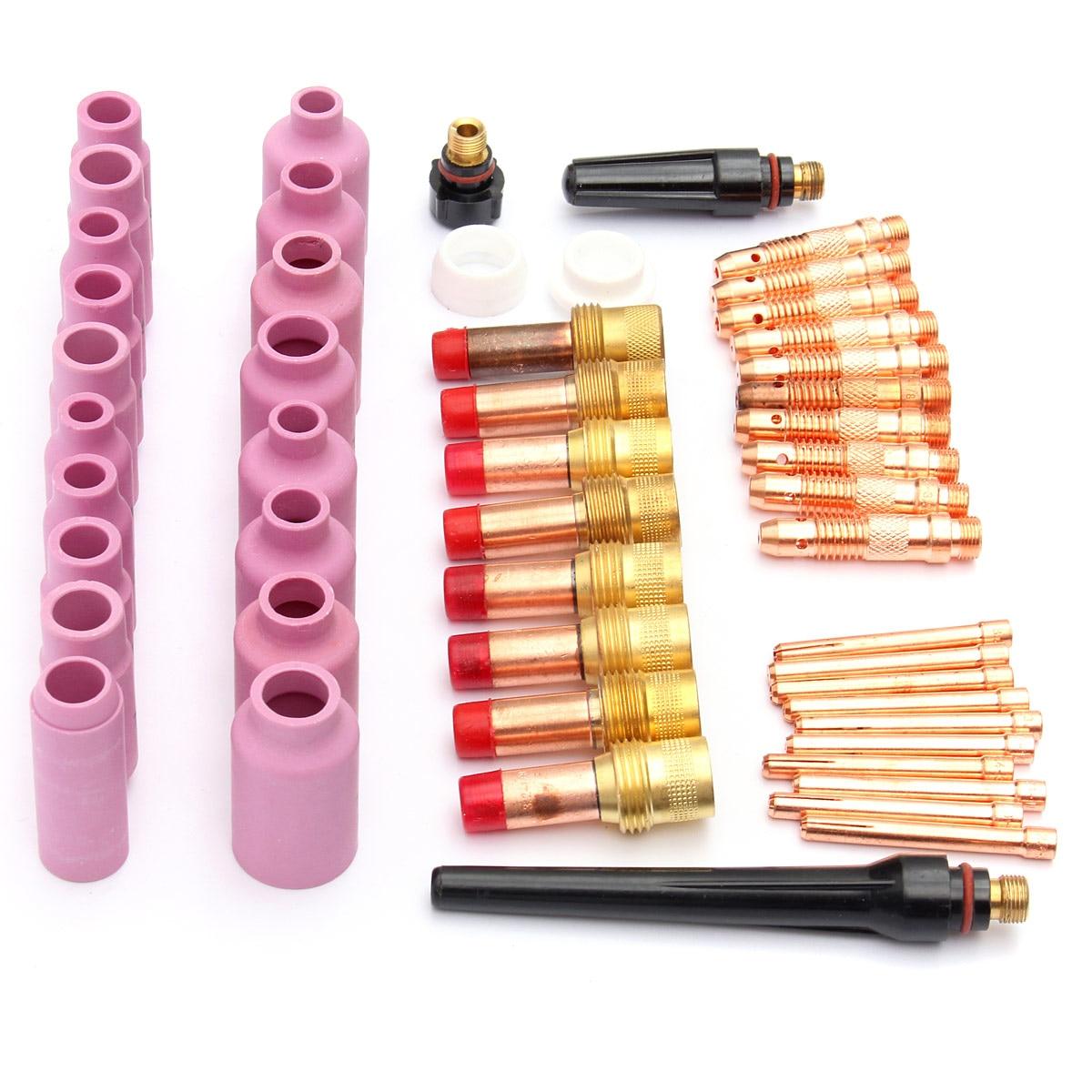 51pcs set TIG Welding Torch Accessories Consumables FIT WP 17 18 26 Series Gas Lens Nozzles