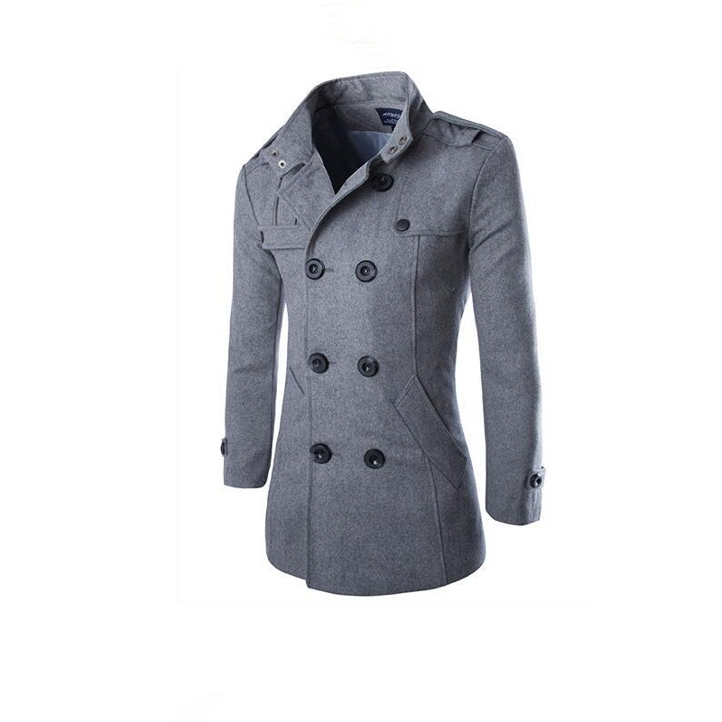 hot sale winter mens Business Casual Solid color Wool Blends jacket quality Double-breasted Standing collar coat Windbreaker