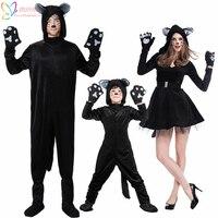 הכי חדש ליל כל הקדושים חתול שחור יפה מסיבת ילדי ילדי בגד גוף Cosplay תלבושות לאמנות צילום
