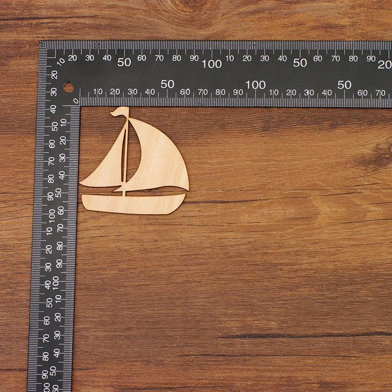 QITAI 12 Pcs / lot perahu berlayar jauh Kayu Alam Veneer DIY - Dekorasi rumah - Foto 5