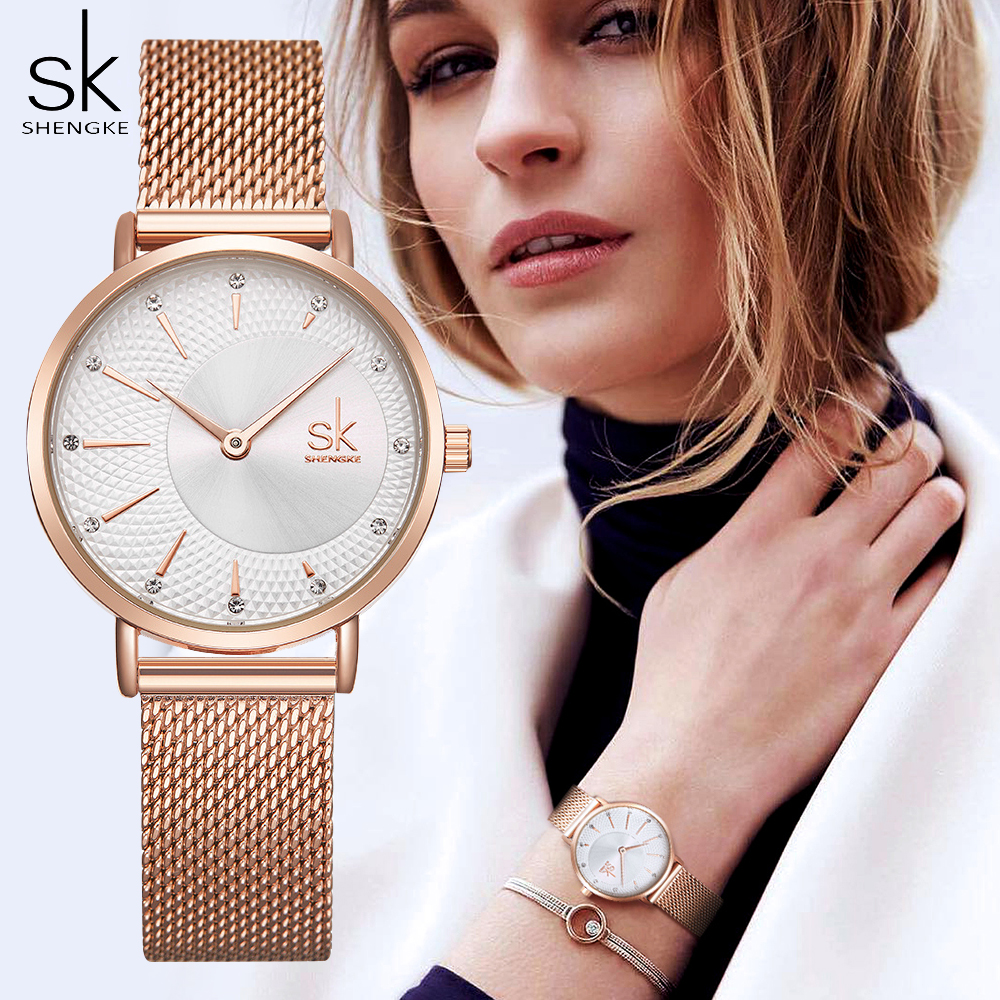 SHENGKE Women Watches Top Brand Luxury Crystal Watch Women Fashion Rose Gold Women's Watches Clock Reloj Mujer Montre Femme