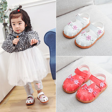 Baby Girls Sandals Shoes 2019 Summer Girls Flat Princess Beach Casual Shoes Kids Leather Floral Shoes Children Sandals Baby
