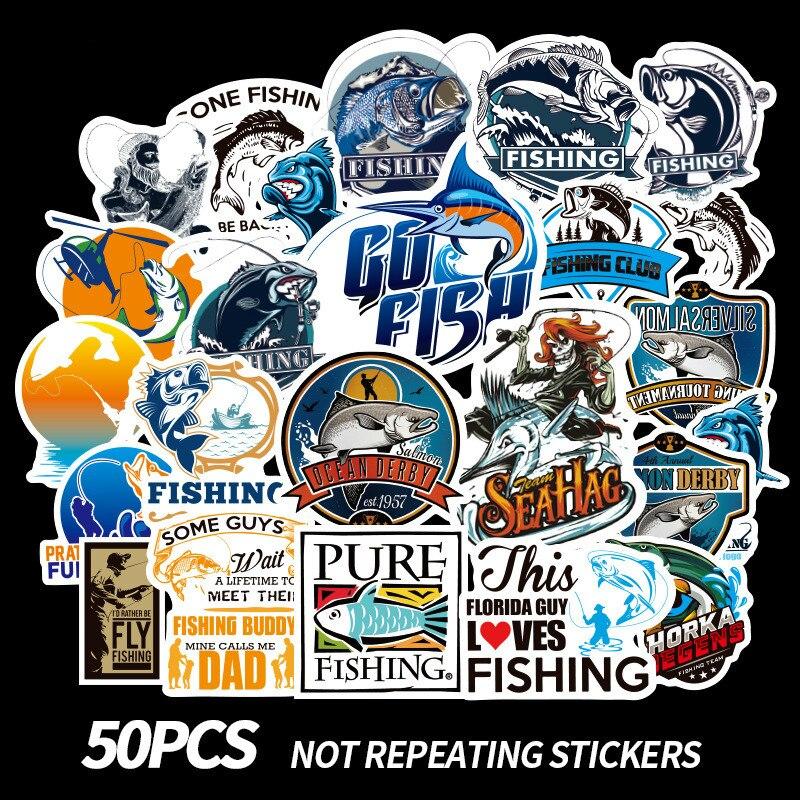 New 50 Pcs/set Go Fishing Different Patterns Graffiti Waterproof Stickers Set 2019