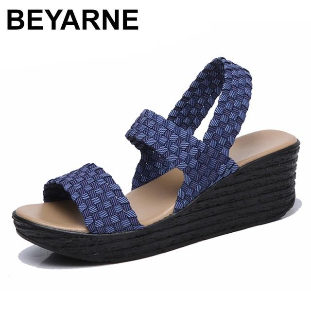Beyarne 2018 夏の女性の女性織フラットウェッジプラットフォームサンダルフリッププ厚い唯一ハイヒールグラディエーターサンダルブーツセクシー