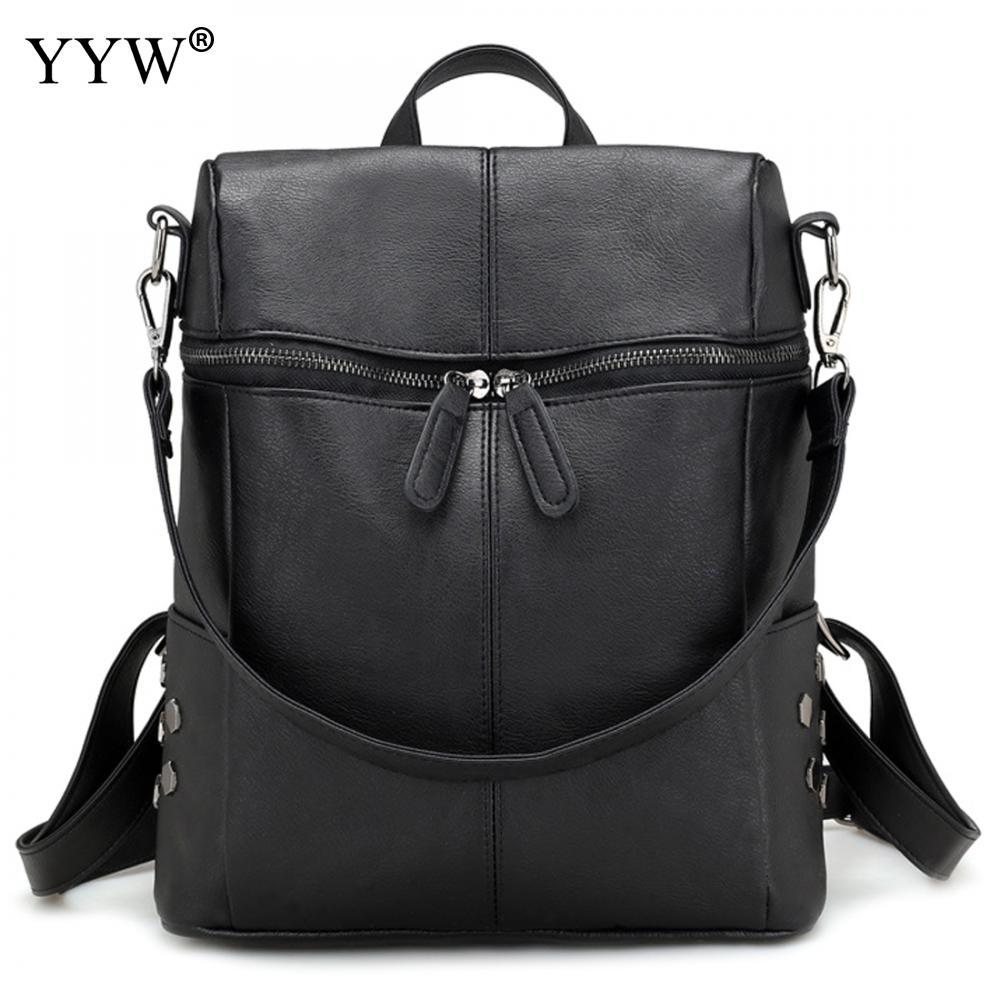 Fashion Backpacks Shoulder-Bags Large-Capacity Vintage Women Pu Bolsa Female Casual Feminina