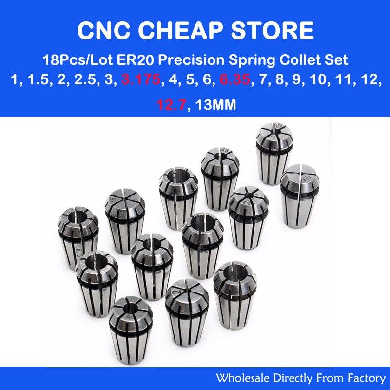 18pcs/set ER20 Precision Spring Collet Set CNC Router Milling Lathe Tool ER20 Spring Collet Chuck 1mm-3.175, 6.35, 12.7mm-13mm