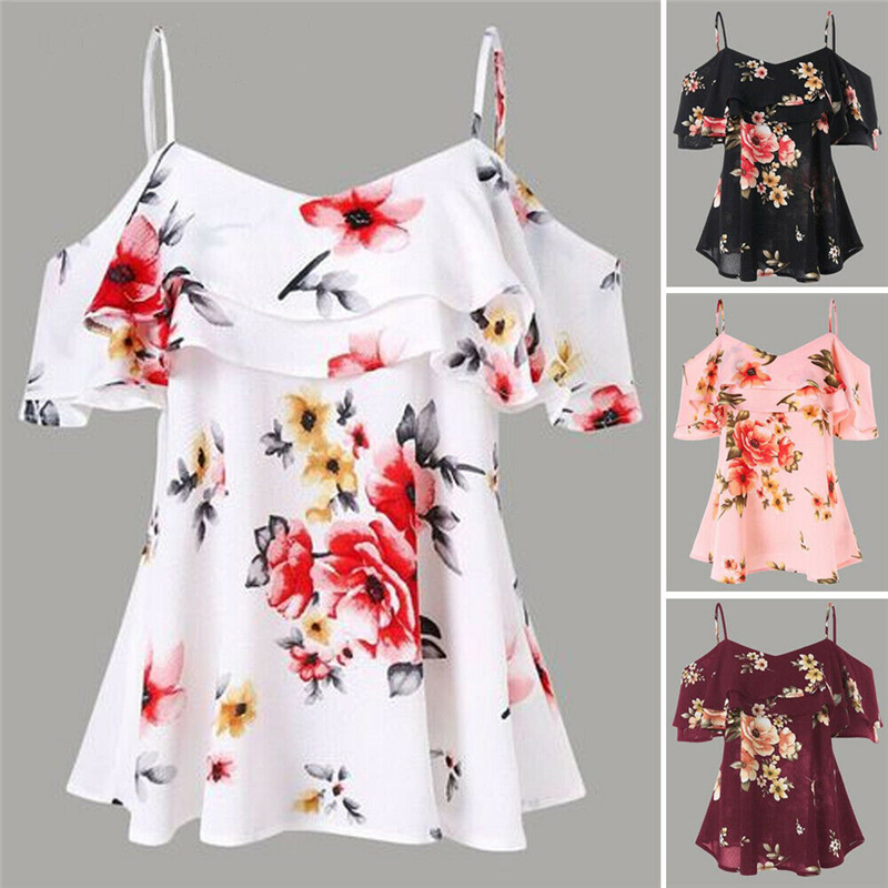Womens Chiffon Strapped Tops Off Shoulder Loose Blouse Short Sleeve Floral Print Tops Casual Womens Tops And Blouse Summer 2019